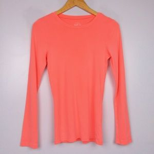 J. Crew Coral Pink Perfect Fit Long Sleeve Tee